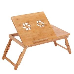Image 1 - Эргономичный регулируемый стол для ноутбука с USB охлаждающим вентилятором для круглого стола бамбуковый складной поднос для завтрака удобный желтый