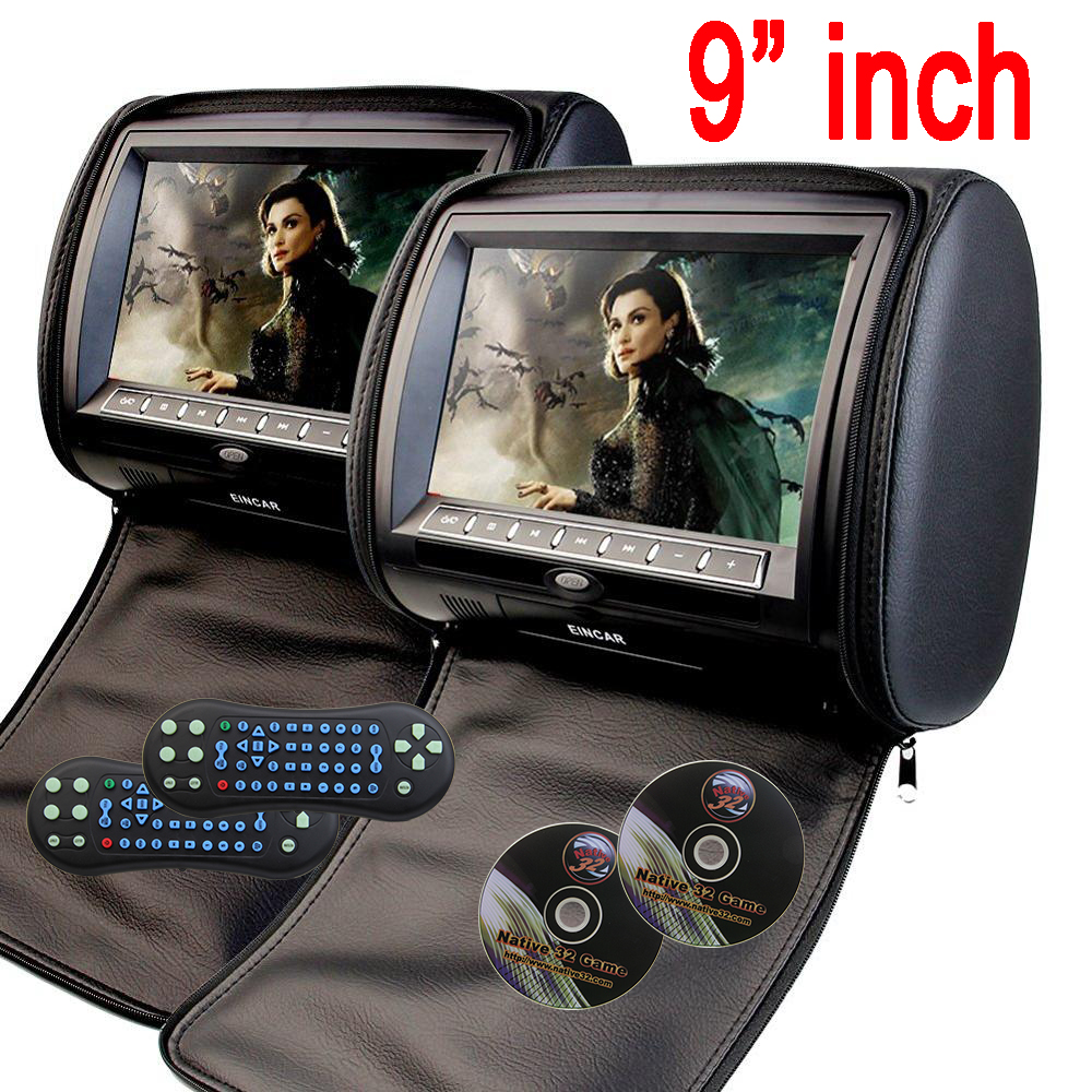 9 inch Car Headrest neck pillow DVD Player Monitor Digital TFT Screen Headrest DVD Player FM USB With Game Disc car headset dvd yaquicka carbon fiber style 4x car interior door side panel cover strips trim for land rover discovery 5 2017 car styling covers