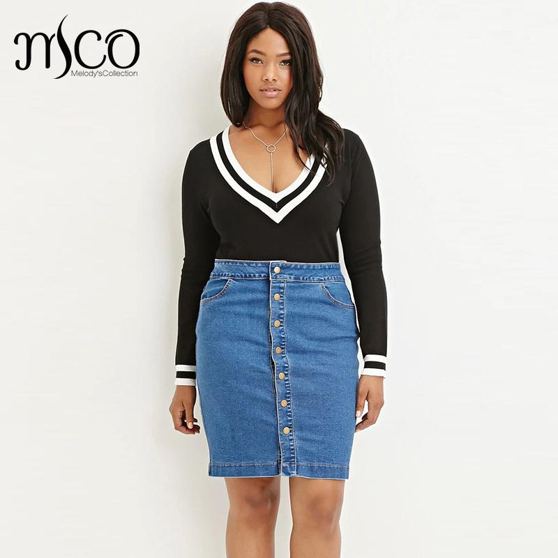 d01f58f9f4 American Apparel Button Through High Waist Jeans Mini Skirt Vintage Midi  Wash Blue Denim Pencil Women Skirts Plus Size 6XL 7XL-in Skirts from  Women's ...
