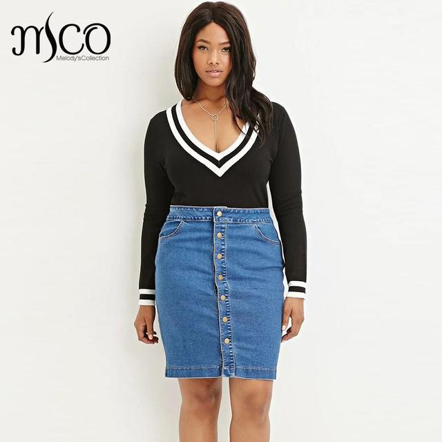 e2bce5aa7f1 American Apparel Button Through High Waist Jeans Mini Skirt Vintage Midi  Wash Blue Denim Pencil Women Skirts Plus Size 6XL 7XL