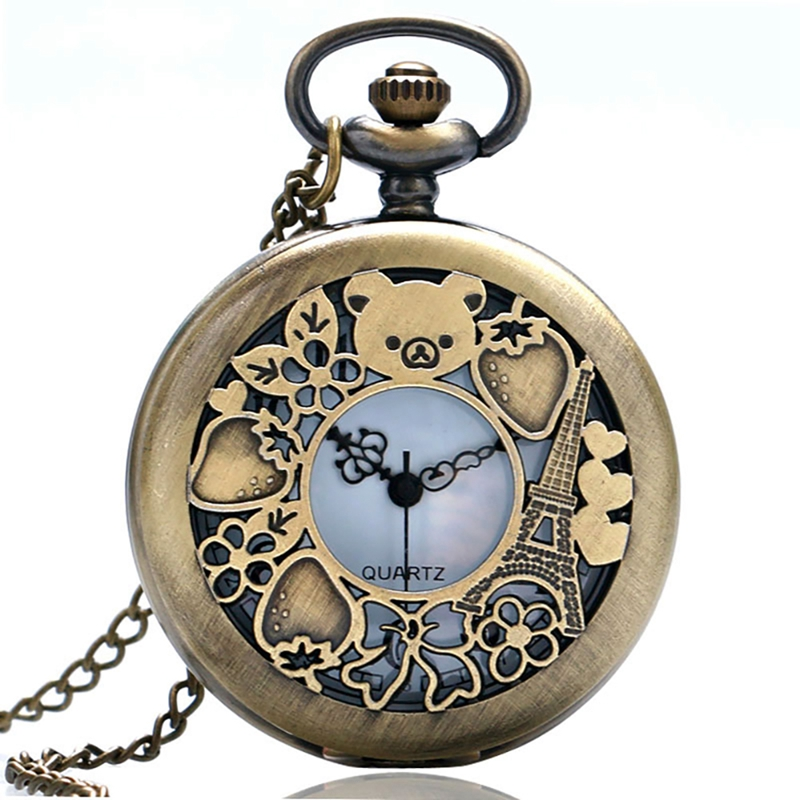 Bronze Mini Vintage Pocket Watch Lovely German Berlin Bear Sculpture Women Fob Watches Child Lovely Gifts Relogio De Bolso