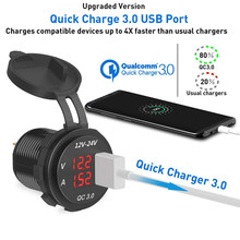 Мощность на выходе Цифровой вольтметр QC 3,0 USB зарядное устройство разъем Амперметр Мониторинг для автомобиля лодка морской RV Мотоцикл#292507