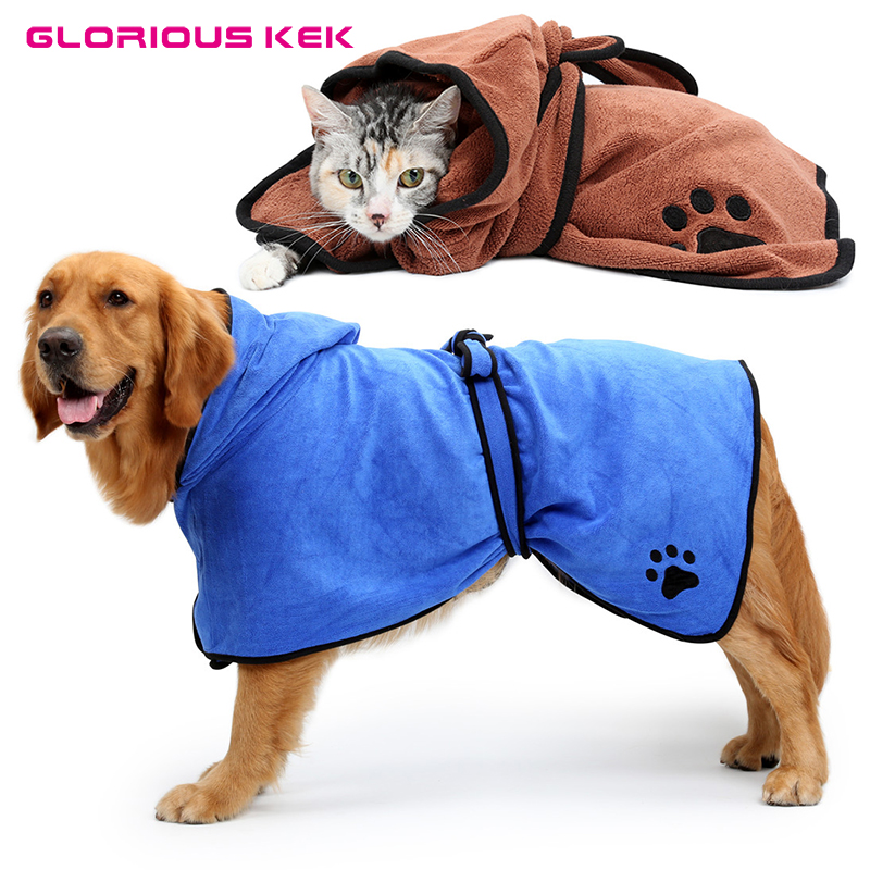 XS-XL Dog Bathrobe Warm Dog Clothes Super Absorbent Pet Drying Towel Embroidery Paw Cat  ...