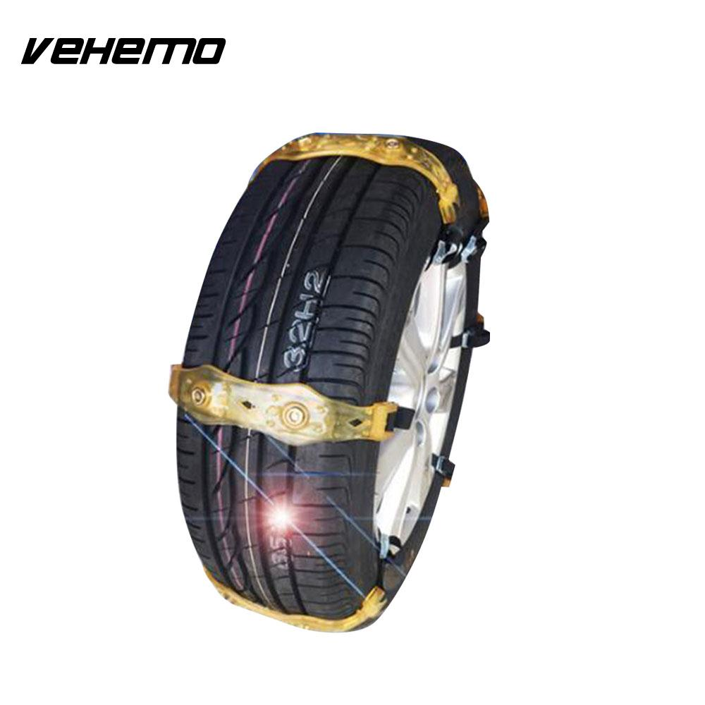 VEHEMO 1 Pc Transparent Yellow Climbing Mud Ground Roadway Safety Snow Chain Anti-Skid Belt Tyre Snow Tire Chain Truck SUV