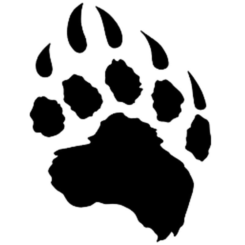 11.4cm*15.2cm Cartoon Animal Bear Paw Vinyl Car Window Graphic Decal Car Sticker Black/Silver S6-3818