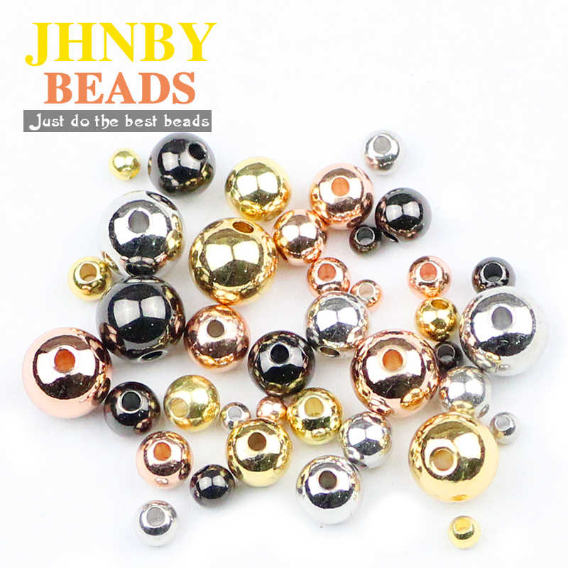 JHNBY Copper Spacer beads ball Gold/black 4 Color 3/4/5/6/8MM Metal Round Loose beads for Jewelry bracelet making DIY Findings