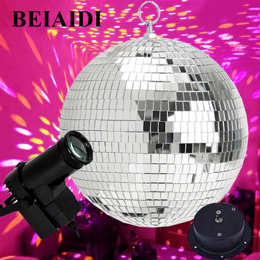 BEIAIDI Dia20CM 25CM 30CM Glass Mirror Balls Disco DJ Ball With Motor And RGB Beam Pinspot DJ Home Party Disco DJ Stage Light