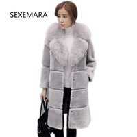 2018 High Fashion New European Fashion Women Imitation Rabbit Fur Hooded Coat Fur Coat More Size S 5XL Faux Fur Coat JacketYM058