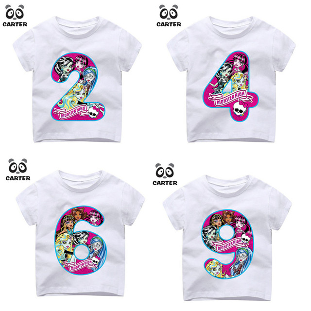 Happy Birthday Monster Number 19th Print T Shirts For GirChildrens Movie Cartoon Tshirt Baby Top Kid Clothes