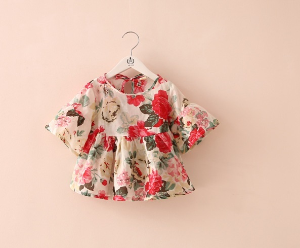 Girls Blouses Floral Flare Sleeve Ruffles Shirt Tops Baby Infant Dresses Party Shirts Children Clothing Shirts