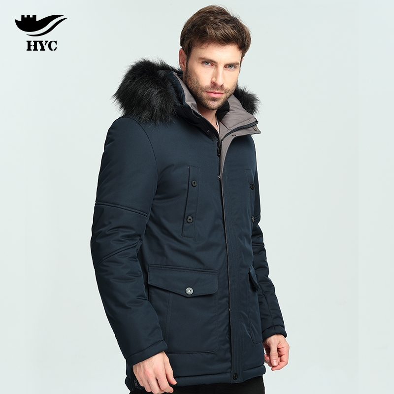 HAI YU CHENG Men's Long Parkas Warm Outerwear Winter Jacket Coat Plus Size Parka Male Windbreaker Pocket Parkas Jacket Men 18801 hai yu cheng winter jacket men wadded parka male wind breaker long trench coat plus size men coat outerwear hood winter anorak