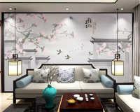 Beibehang papier peint 3d papier peint écologique papier peint chinois marbré magnolia oiseau litchi peint à la main