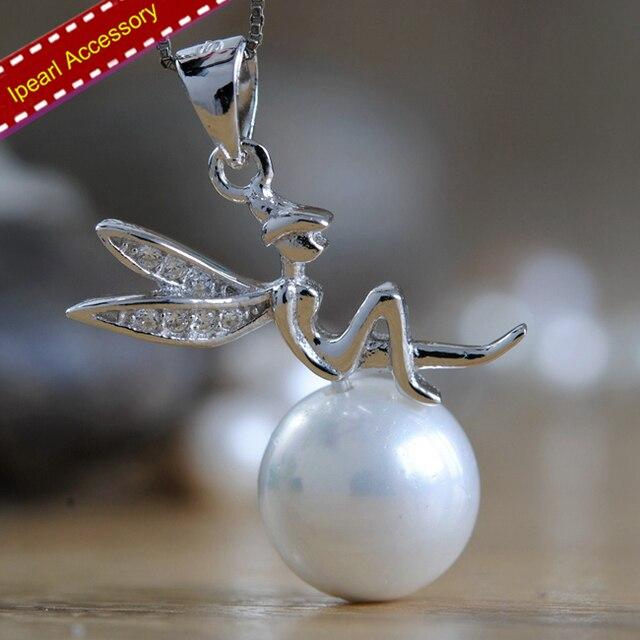 S925 sterling silver angel pendant holder women diy pearl fairy s925 sterling silver angel pendant holder women diy pearl fairy pendant findings fashion lady necklace pendant aloadofball Gallery