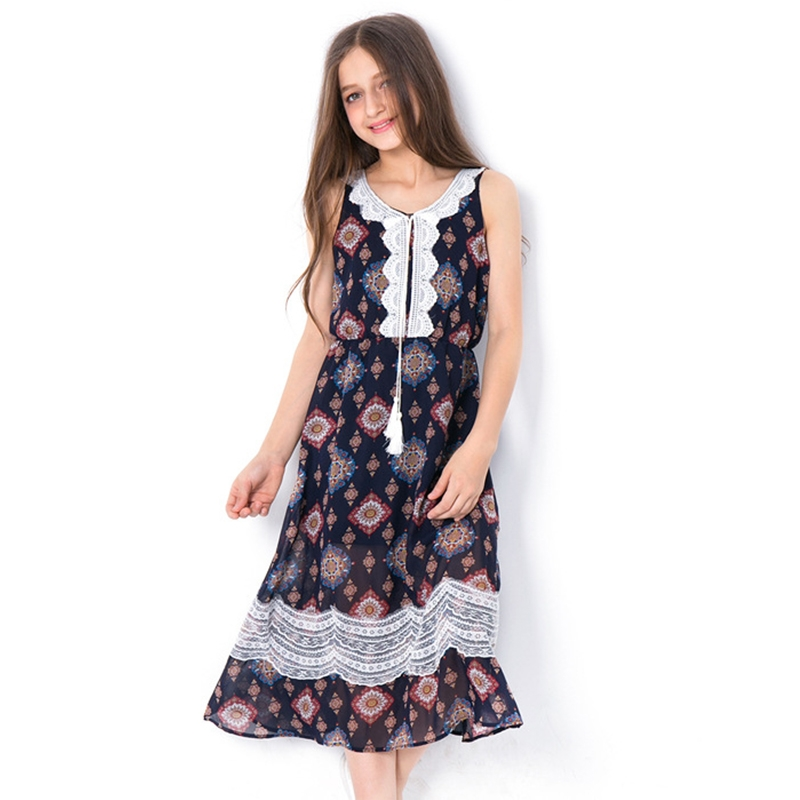 2ca3c6415e33 2019 Teen Girls Dress 2018 Fashion Floral Summer A Line Dresses ...