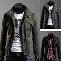 Мужская slim-линии пальто райдер на молнии кнопку толстовка XS sml 8947