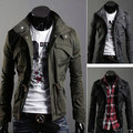 New Men's Military Slim Line Jacket Coat Rider Zip Button Hoody Top XS S M L 8947
