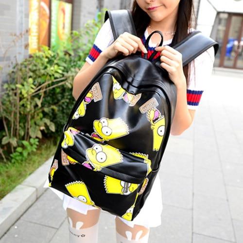Bart simpson printing women backpacks PU leather school bag for teenagers  pretty travel backpack bookbag mochila feminina 2015 5450c78f457f1
