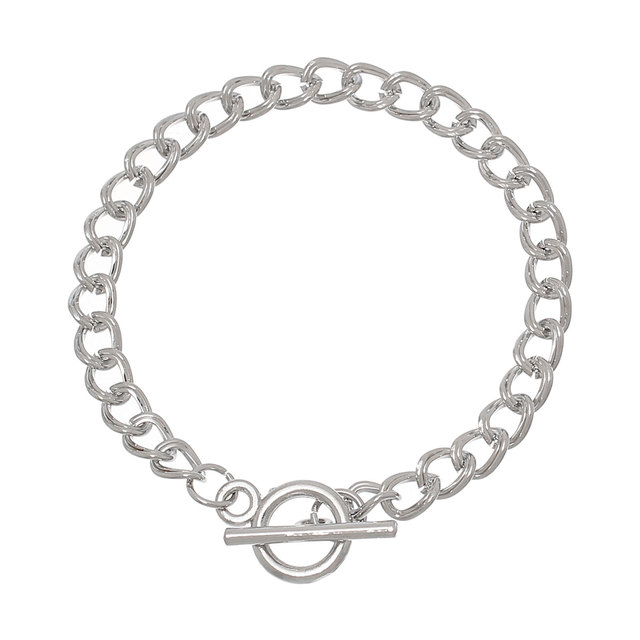 Doreenbeads Iron Alloy Double Curb Chain Toggle Clasp Bracelets Silver Tone 20cm 7