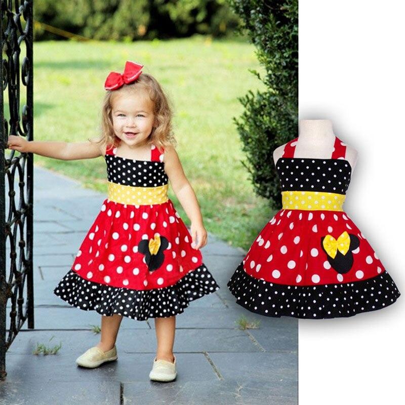Toddler Girl Sleeveless Minnie Dress Summer Baby Girls