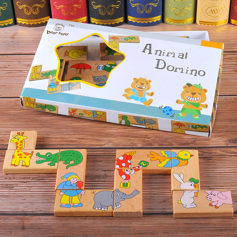 15 Pcs Wood Animal Domino Puzzle Wooden Toys for Children Jigsaw Puzzle Solitaire Game Kid s