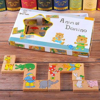 15 sztuk drewno zwierząt Domino Puzzle drewniane zabawki dla dzieci Puzzle jigsaw Solitaire gra dziecięca Montessori edukacyjna zabawka dla dziecka tanie i dobre opinie Drewna 5-7 lat 2-4 lat Don t give the small part to the baby under 3 years LM-PTJL Zwierzęta i Natura Logwood