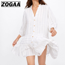 European and American Style Summer 2019 New Womens Dress Stripe Flounce Stitching Temperament Shirt