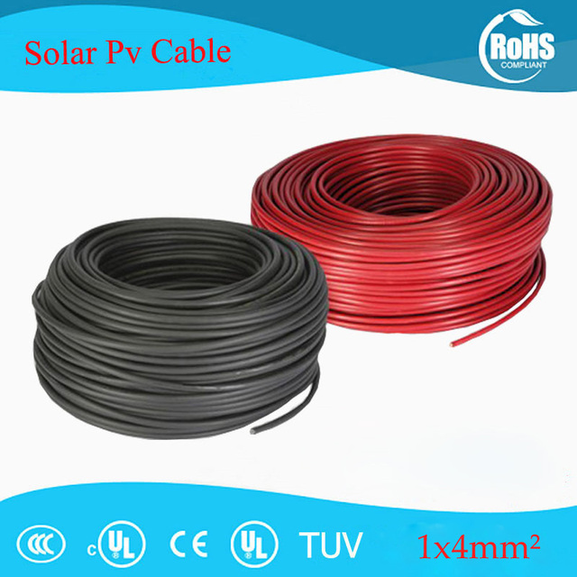 50 meters/roll 4mm2 (12awg) sphotovoltaic cable/ tuv cable for pv panels  connection/ pv cable with uv ul approva-in power cables from home  improvement on