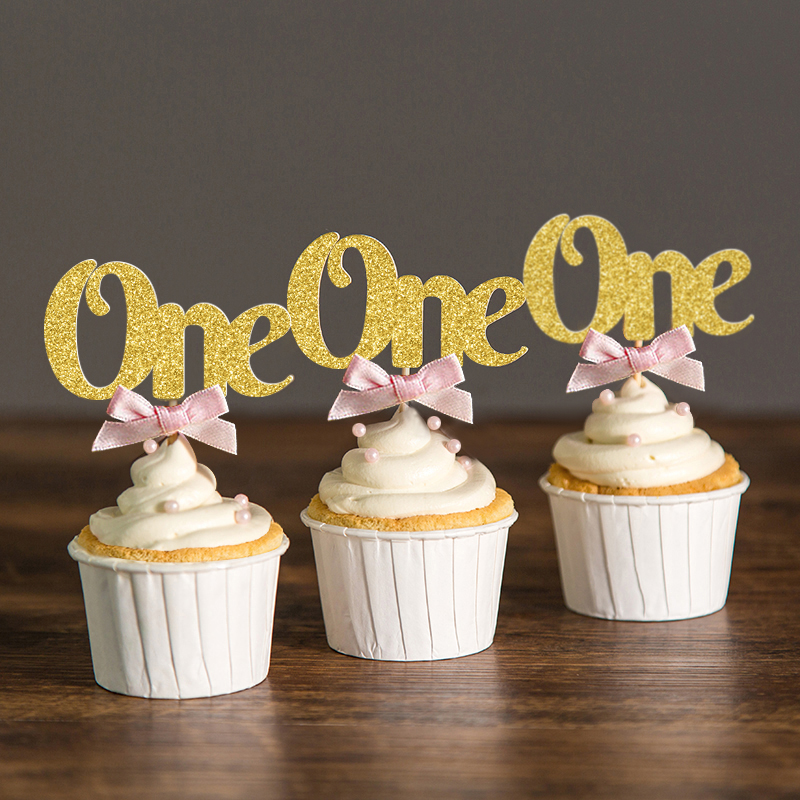 pink bow gold gliter star cupcake toppers baby shower girl 1st