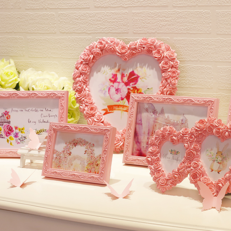 Pink White 15 Pcsset Photo Frames For Picturecarved Wooden Heart