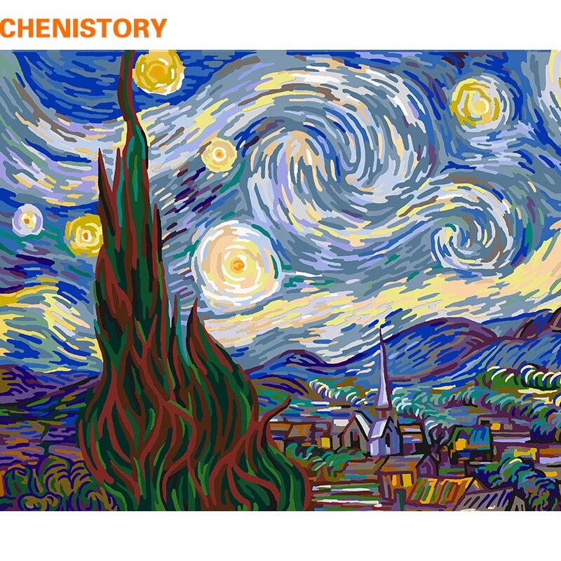 CHENISTORY Albero Astratto Paesaggio Pittura di DIY Dai Numeri Dipinto A Mano di Arte Della Parete Complementi Arredo Casa della Tela di Canapa Pittura Per Soggiorno Regalo