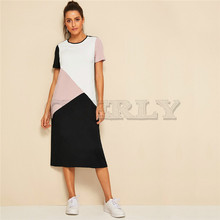 CUERLY Casual Multicolor Cut-and-Sew Tunic Summer Long Dress Women 2019 O-Neck Short Sleeve Shift Straight Color-block Dresses