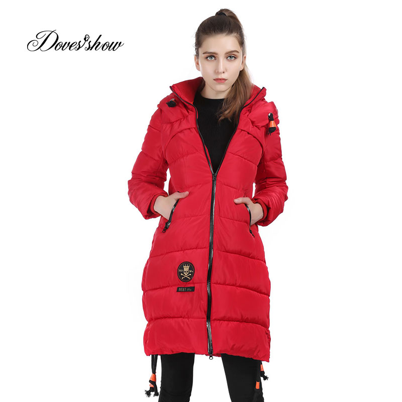Female Winter Parkas Women Hooded Cotton-Padded Jacket Thick Warm Winter Wadded Jacket Long Slim Women Basic Coats Outwear Ru50 2017 new fur collar parkas women winter coats medium long thick solid hooded down cotton female padded jacket warm slim outwear