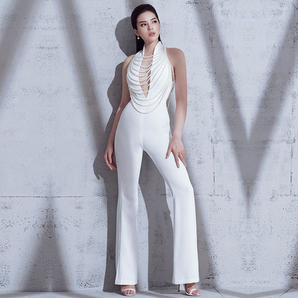 Adyce 2019 New Summer Women Jumpsuit Elegant Beads Sexy Backless Halter Chain White -4301
