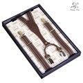 Kangdai tirantes ajustables de la vendimia de impresión de la raya con la correa larga y acero 4 con clip de cinturón para las mujeres/mujer, tirantes AV-1