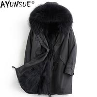 AYUNSUE Parka Real Fur Men Clothes 2018 Winter Luxury Jacket Men Long Coat Racoon Fur Coats Parkas Winterjas Heren KJ1084