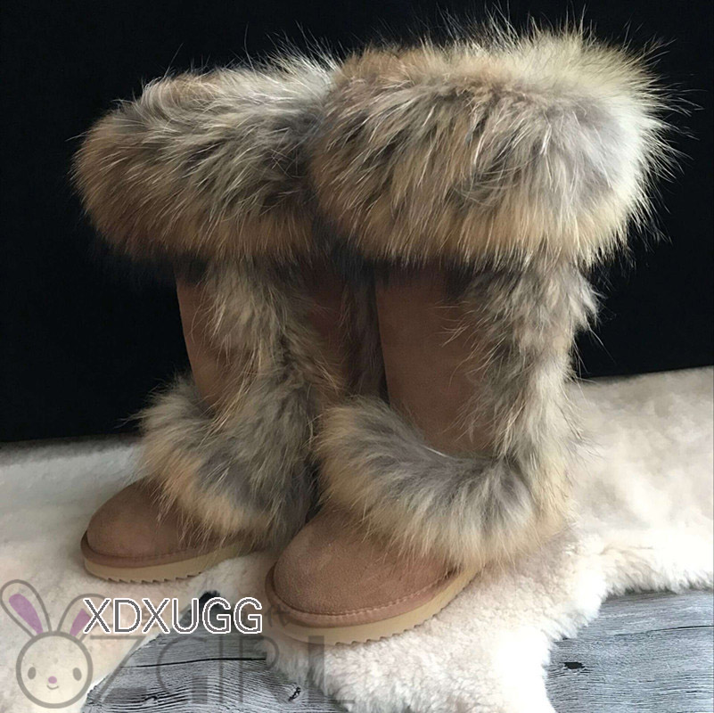 2018 Winter New Fashion Snow Boots Womens Shoes Fur Fox Hair Knee-High Flats Solid Shearling Size 4-10 High Quality  XDXUGG2018 Winter New Fashion Snow Boots Womens Shoes Fur Fox Hair Knee-High Flats Solid Shearling Size 4-10 High Quality  XDXUGG