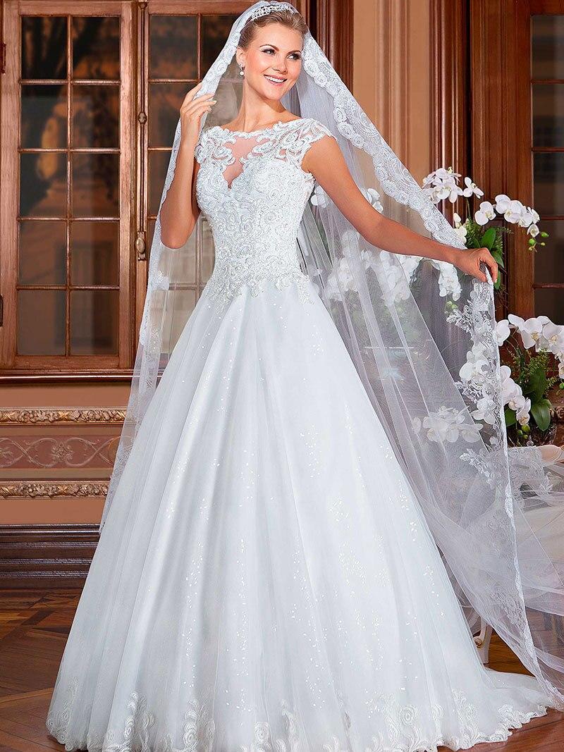 Vestido De Noiva Short A-Line Cap Sleeve Court Tra...