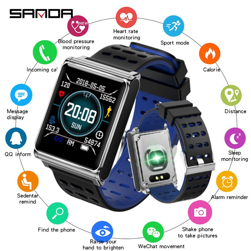 SANDA New Fitness Heart Rate Smart Watch Men Blood Pressure Smartwatch Waterproof Sport Watch Women for