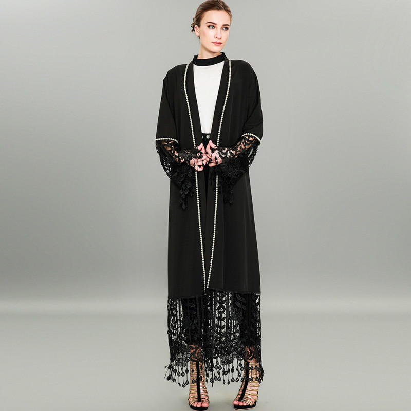 TUHAO Autumn Winter Lace Black   Trench   Coat Woman Cardigan Plus Size 4XL 3XL Tassel Beading Hollow Out Women's Cardigans CM302