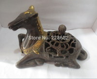 Collectible Chinese Old Bronze Carved horse incense burner Chinese Censer fast Shipping|horse|censer|horse shipping -