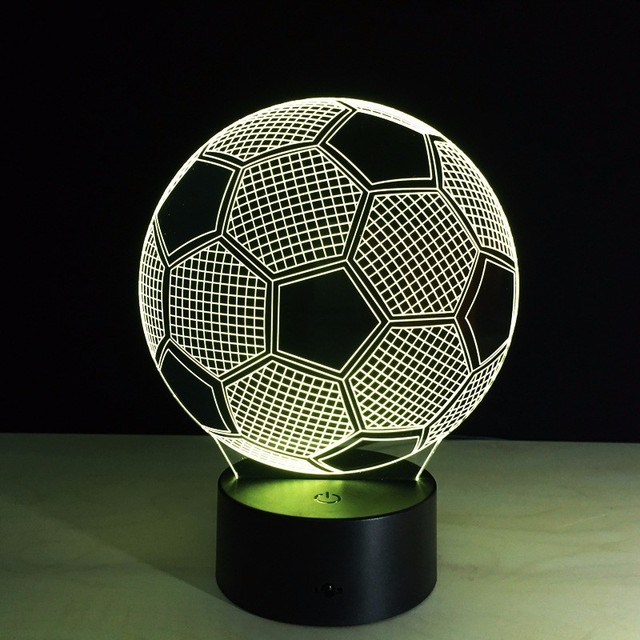 Football 3D USB/Battery LED Night Light 7colors Changeable Lamp with Touch Button Children Bedroom Table/Desk Novelty Lighting