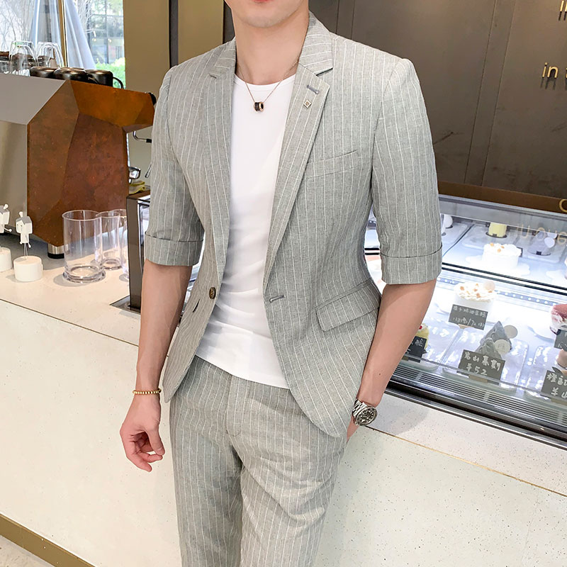 2019 Summer Half Sleeve Wedding Suits For Men Good Quality One Button Man Suit Slim Fit (jacket And Pant)