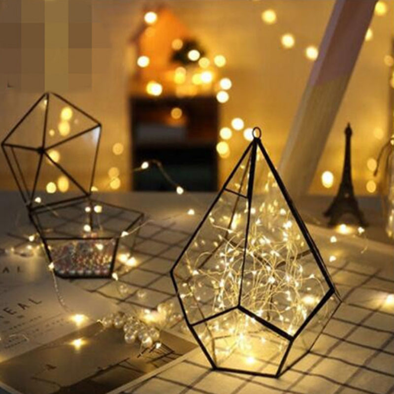 5pcs Copper Led Fairy Lights 2M 3M 5M 50 Leds CR2032 Button Battery Operated LED String Light Xmas Wedding party Decoration