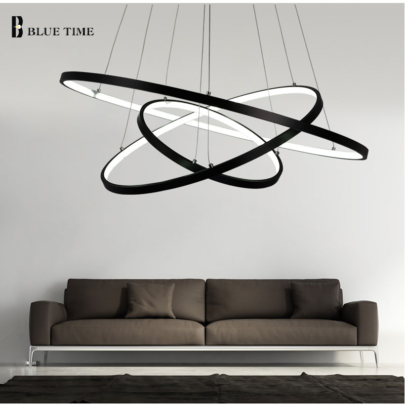 Black Or White Finished Chandelier Lighting Modern Chandeliers Kitchen Light Fixtures Acrylic Lampshade Lustre AC85 260V