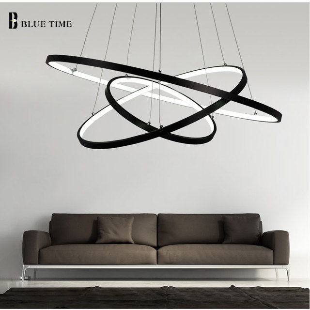 Schwarz Oder Weiß Kronleuchter Beleuchtung Moderne Kronleuchter Küche  Leuchten Acryl Lampenschirm Glanz AC85 260V Lampe