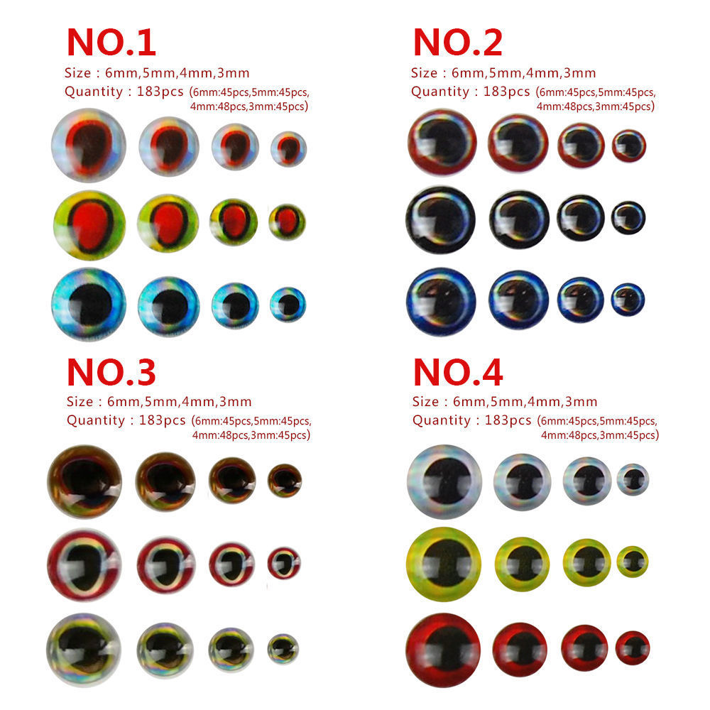 Hyaena 366pcs/lot Mixed Sizes Bionic 3D Epoxy Realistic Simulation Fishing Eyes Resin Artificial Lure 3D Eyes Fly Lure Material
