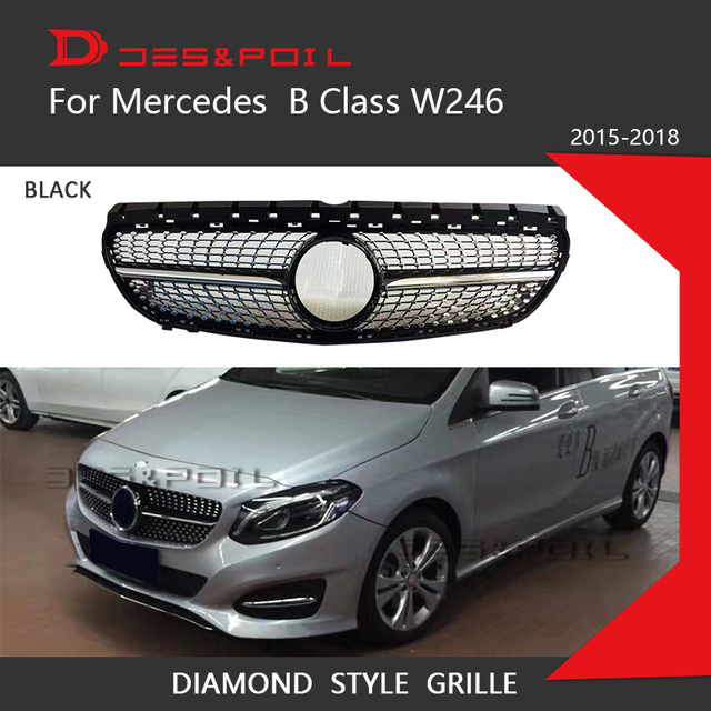 Front Grille Vent Fit For Mercedes Benz B B200 B Class: Diamond Grille Black Silver For Mercedes Benz B Class W246