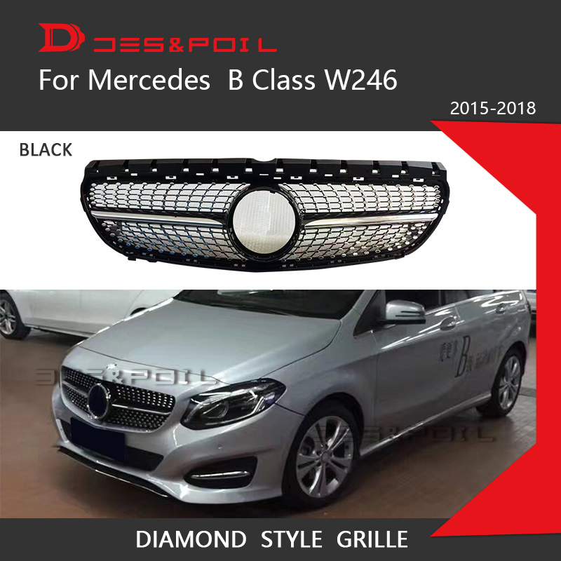 Diamond Grille Black Silver For <font><b>Mercedes</b></font> Benz B Class <font><b>W246</b></font> Front Bumper Racing Grill 2015-2018 <font><b>B180</b></font> B200 B250 B220 Car Styling image