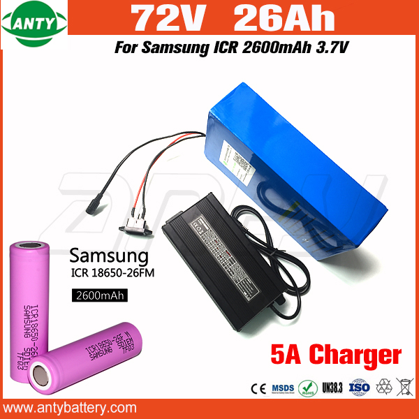 26Ah e Bike Battery 72v 1500w with 84v 5A Charger Built in 30A BMS For Samsung 18650 Cell Lithium Battery Pack 72v Free Shipping free customs taxes customized 72v 40ah lithium battery pack for e bike electric scooters ev e bikes with charger and 50a bms