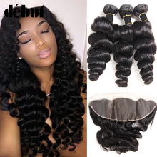Ali Debut Remy Bundles With Frontal 4*13 Lace Brazilian Loose Wave Bundles With Frontal 20 Inches Wet And Wavy Loose Curl